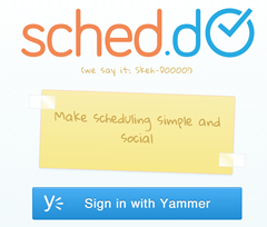 Sign-in with Yammer button.